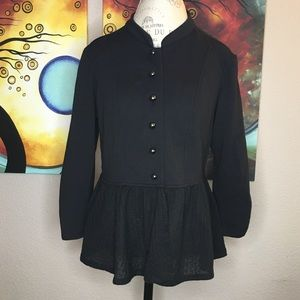 Maurices Large Black Button Sweater W/ Lace Trim
